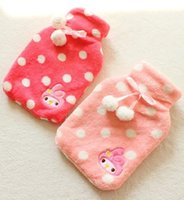 Wholesale Pink Melody Polka Dots Bow Plush Hot water Bag Hot Water Bottle Cover Retail