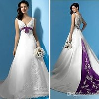 Wholesale 2015 Hot Sales New Taffeta White and Purple Wedding Dresses V Neck Sweep Train Bow A Line Embroidery Bridal Gowns Sleeveless Custom W2003