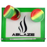 Wholesale Rasta Silicone Mat Jar Slick Pad No Stick Shatter Proof Tool Set Stainless Steel Dabber Dab Jar Pad Kit