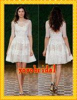 designer wedding dresses - 2015 Fashion Simple Lace Designer Short Wedding Dresses Crewed A line Ruched See Through Half Sleeves Cheap Wedding Bridal Gowns