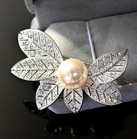 asian face cream - 2 Inch Six Leaf Diamante Clear Crystal Rhinestone Rhodium Silver Plated Bouquet Wedding Brooch with Cream Pearl Vintage
