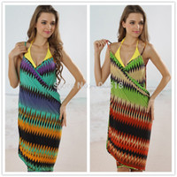 Wholesale B09 Backless sexy swimwear cover up hot sale beach clothes fashion colorful stripes beach sarongs for women