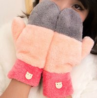 Wholesale fashion bicyle winter riding gloves electric heating warm mittens gloves cycling color matching girls purple plush CM pairs C34