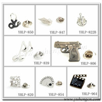 Wholesale YHLP Fashion Novelty Gun Drum Kit Anchor Music Note Pen Poker Lapel Pins Badges Mix Styles Acceptable