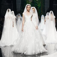 online store - Elie Saab Wedding Dresses Sheer Tulle Appliques Lace A line Corset Cap Sleeves Bridal Gowns Stores Grecian Dress For Brides Shop Online