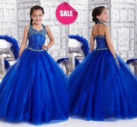Wholesale Cheap Girl s Pageant Dresses For Little Toddler Kids Infant Baby Hot Sale Crystals Beaded halter Long Royal Blue Tulle Party Ball Gowns