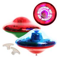 Wholesale Laser Color Flash LED Light Music Gyro Peg Top Spinning Kids Toy LED Toys