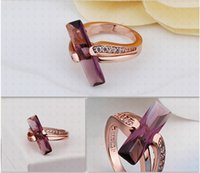 Wholesale Top Quality K Gold Plated Rose Gold Plated Diamond Rings Colorful Zircon Brand Rings For Women R411