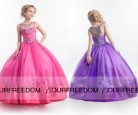 baby gril dress - 2016 Rachel Allan Lovely Girls Pageant Dresses Jewel Neck With Beaded Ball Gown Baby Birthday Gown Floor Length Flower Gril Dresses