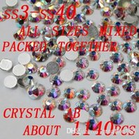 Wholesale 2015 Hot Sell Flatback rhinestones mixed sizes Crystal AB for nail art phone case diy scrapbooking decoration
