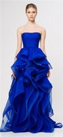Wholesale 2015 Amazing Royal Blue Strapless Ball Gown Evening Dress with Ruffle Vintage Formal Dresses High Quality reem acra Evening Gowns