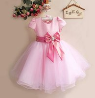 pink bandage dress - Solid girls bandage dress pink red white blue party dresses for girl girls clothing flower girl beautiful dress with big bow princess skirts