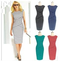 Wholesale Cheap Elegant Dresses Sleeves - Womens Cheap Elegant New Summer Colorblock Striped Tunic Wear To Work Business Party Cocktail Pencil Bodycon Plus Size Maxi Dress OXL072903