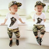 camouflage clothing - Summer Childrens Outfits Sets Baby Kids Suit Cute Cartoon Baby Boys Clothing Childrens Short Sleeves Camouflage Clothing Cotton QQT05