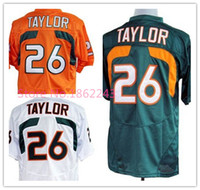 Cheap Factory Outlet- Wholesale Cheap Miami Hurricanes Sean Taylor Jersey #26 White Green Orange Pro Combat American College Football Sports Jerse