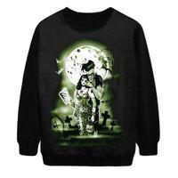 alternative sweatshirt - w151231 Halloween alternative grim demon punk fleece sweatshirt for women casual sweatshirts tops