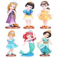 baby ariel doll - princess dolls toys Snow White Rapunzel Mermaid Ariel Jasmine Belle baby toy doll set pvc action figures Cinderella cartoon