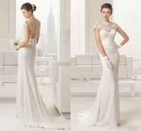 aire caps - 2015 Elegant Backless Mermaid Wedding Dresses Sheer Lace Open Back Bridal Gowns Court Train Custom Made Vestidos De Novia Aire