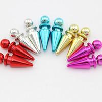 Wholesale Light bullet ear cuff stud earrings for women double side stud earring fashion and personality