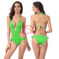 vintage swimwear - 2015 Sexy Bikini Swimwear Vintage Ladies Swimwear for Women One Pieces Swimsuits with Underwire Deep V Neck Swimwear for Women Push up VS003