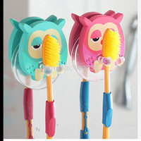 Wholesale Cute Cartoon Animal Owl Sucker Plastic Toothbrush Wall Holder Suction Cup Bathroom Hanging Accessories Giraffe Elephant