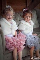 Wholesale Short Sleeves Girls Cape Wedding Cloaks Faux Fur Jacket For Winter Kid Flower Girl Shrug Outerwear Coats