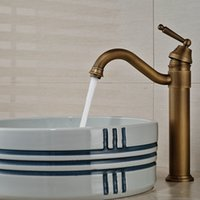 antique vanity sinks - And Retail Deck Mounted Antique Brass Swivel Spout Vanity Sink Mixer Tap Single Handle Hole Basin Faucet
