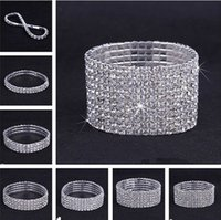 Wholesale Silver Plated Crystal Rhinestone Shiny Stretch Fashion Women Lady Bracelet Bangle Wristband Jewelry Fashion Gift Fit Party