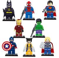 Wholesale Superheros block building Sets children cartoon superhero avengers Minifigures Building Toy superman America Captain batman party gift