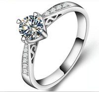 certified diamond ring - US GIA certified ct moissanite engagement rings K white gold simulate diamond rings for women solid white gold ring