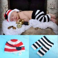 Cheap Hot Sale New Newborn Pirate Hat Eye Patch and Pants Set Infant Baby Crochet Photography Prop Set Knitted Costume 1set