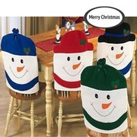 animal chairs - 4pcs Christmas Snowman Hat Chair Back Covers Festival Decoration Decor for Dinner cm H15982