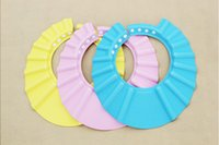 Wholesale 2015 New Baby safety bathing supplies baby hair shampoo Cap thickened mos T children shower cap adjustable PVC shampoo cap baby gift
