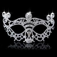 Wholesale Hot Silver Tone Venetian Bridal Masquerade Rhinestone Crystal Eye Mask Halloween Fancy Dress Ball Party Mask