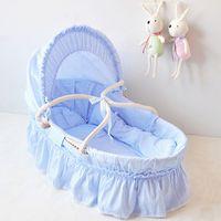 Wholesale Hot Sale Optional Color Portable Baby Crib Handmade Corn Bran Woven Newborn Baby Sleeping Basket Cotton Travel Bed Baby