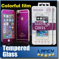Wholesale Gold Mirror Effect Colored Tempered Glass Colorful Screen Protector Front and Back For iphone Plus plus High Quality Explosion Proof