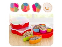 round plastic food tray - Creative Fashion Compartments Dried Fruit Tray Lid Plastic Candy Dish Snack Tray Sealing Seeds European Inventory Center