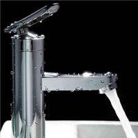 Cheap 1pcs Bathroom Basin Faucet Single Handle Brushed Chrome Waterfall Sink Mixer Tap New
