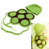 Cheap Baby Infant Cute Turtle Crochet Knitting Costume Soft Adorable Clothes Photo Photography Props for 0-6 Month Newborn