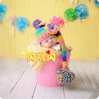 Cheap Toddler Crochet Knit Cotton Handmade 0-6M crochet Hat Newborn handmade Knitted Girls Infant Costume Photogragh outfits Hat P51
