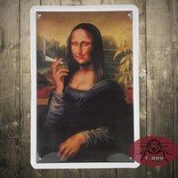 aluminum hanging - The Mona Lisa of smoking Metal tin signs iron painting Nostalgic classic wall hanging