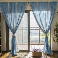 Wholesale Blue Cotton Linen Lace Crochet Curtain Valance Drape Hollow Stitching Panel for Living Room Hotel Cafe Window Decoration