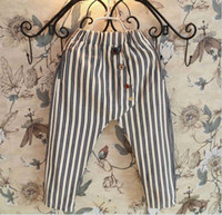 linen pants - 2015 Spring Boys Girls Halen Pants Buttons Striped Stripes Cotton Linen Softy Causal Long Trousers Children Clothing Kids Blackwhite K3456
