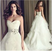 2014 blanc / ivoire mode robe de bal sweetheart parole longueur organza robe de mariée avec volants robe de mariée vintage