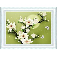 Wholesale Hot Sale Counted Cross Stitch Set DIY Handmade Needlework Embroidery Kit D Precise Printed Magnolia Flower Butterfly Design fre
