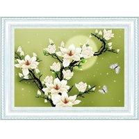 Venta caliente puntada en cruz Set DIY hecho a mano de la costura del bordado 3D Kit de diseño de la mariposa de la flor de la magnolia precisa Impreso fre