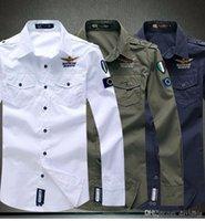 Wholesale Air force men long sleeve shirt casual man dress shirts color M L XL XXL XL Hot sale
