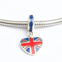 bead union - Fits Pan Bracelets mm union jack Britain flag dangles charms Silver Beads Cubic Zirconia Sterling Silver Charms for DIY Jewelry