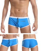 Wholesale Swimming Trunks Pants For Men - 2016 hot sales Men swimwear plaid Waist Mesh Breathable Swim Trunks Shorts Boxers for Men striped sports pants mix order