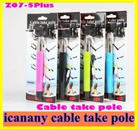 Wholesale Z07 plus z07 plus s Selfie Stick groove monopods Self timer Camera Tripod Extendable Monopod Pole Handle With icanany Cable Take Pole